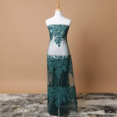 Bottle green nylon tulle fabric with same tone fancy embroidery in floral design-D7747
