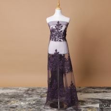 Plum nylon tulle fabric with same tone fancy embroidery in floral design-D7748