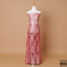 Brick red, silver Premium wedding French metallic chantilly lace fabric in floral design-D8384