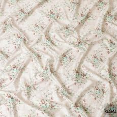 Beige cotton satin fabric with sage green, brown and olive green print in floral design-D6497