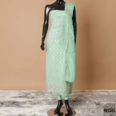Mint green crepe kameez with same tone plain salwar, Mint green crepe Dupatta having gold embroidery, sequin and stone work in floral design-D7785