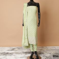Sage green crepe kameez with same tone plain salwar, Sage green crepe dupatta having same tone, gold embroidery, beads and stone work in paisley design-D7792
