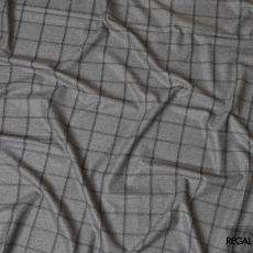 Smoke grey blended English wool suiting fabric with black checks design-D7967