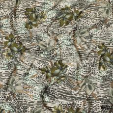 Beige synthetic crepe fabric with multicolor print in animal skin design-D8157