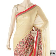 Latte beige blended synthetic chiffon saree with multicolor embroidery in fancy design having multicolor bead work