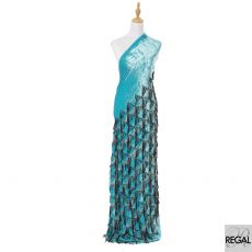 Turquoise blue silk blended velvet fabric with black embroidery having black and silver sequins in fancy design-D6086