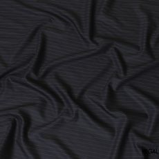Dark navy blue super 150's English all wool suiting fabric with blue stripe design-D7177