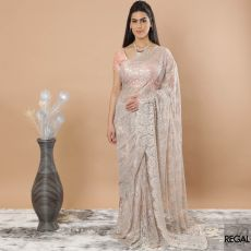 Baby pink, Gold, baby blue Premium metallic French Chantilly lace saree having multicolor stone work in floral design-D7483