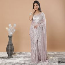 Lemonade pink, silver Premium metallic French Chantilly lace saree having same tone and silver stone work in floral design-D7486