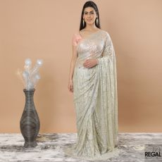 Lemon yellow, gold, silver Premium metallic French Chantilly lace saree having stone work in floral design-D7492