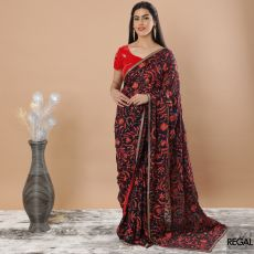 Dark Navy blue Premium Synthetic georgette saree with red, peach, olive green embroidery having beads and stone work in floral design-D7497