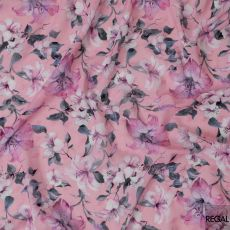 Creamy pink cotton voile fabric with same tone jacquard having stone grey, abalone grey and purple print in floral design