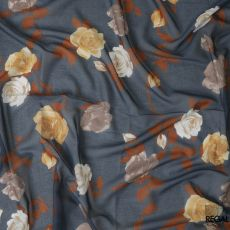 Flint grey Swiss cotton voile fabric with off white, caramel brown and cream print in floral design