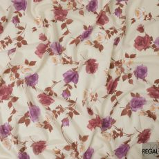 Cream Swiss cotton voile fabric with brown, off white and purple print in floral design