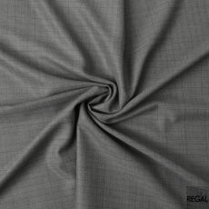 Mink grey blended Super 120's Wool and cashmere suiting fabric with blue checks design