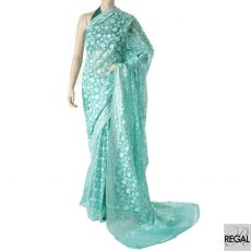 Jungle green blended synthetic cotton saree with beige and golden yarn in fancy design-D5912