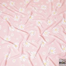 Baby pink viscose crepe fabric with white, sun flower yellow and cerise pink print in floral design-D7815
