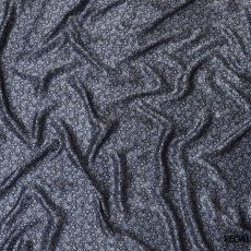 Black pure silk satin fabric with baby blue and white print in paisley design-D8215