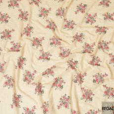 Gold synthetic georgette fabric with same tone embroidery, sequins having ruby red, olive green and mustard print in floral design-D7358