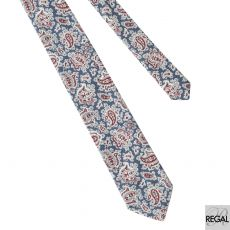 Steel blue 100% Italian silk printed tie with white, red and grey paisley design