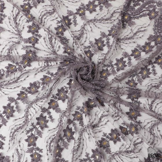 Mauve tulle fabric with mauve embroidery, mauve pearls, beads and gold stone work in floral design