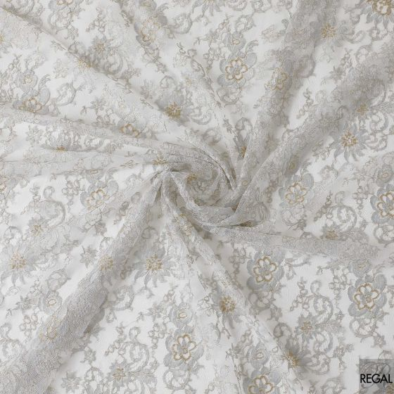 Grey, silver and light gold coloured French metallic lace in floral design