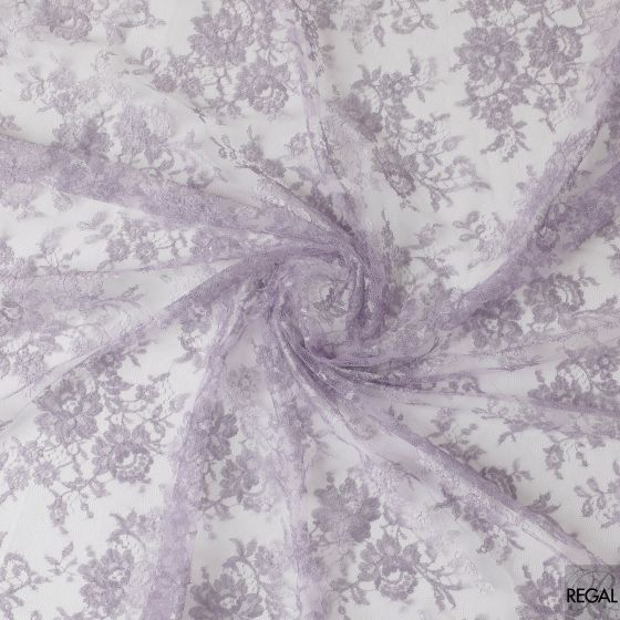 Lavender and light lilac coloured French metallic lace in floral design