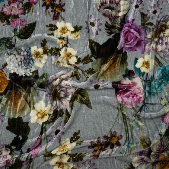 Grey velvet fabric with brown, purple & green printed floral design