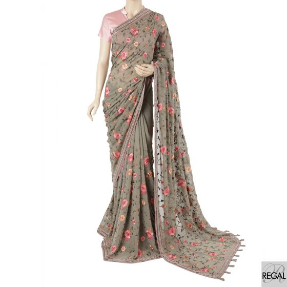 Artichoke green georgette saree with cerise pink, olive green, melon peach, copper brown embroidery having beads and stone work