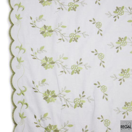White Linen fabric with green floral embroidery design