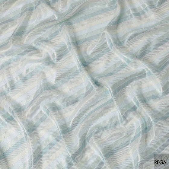 Powder blue French chiffon fabric with electric blue and gold metallic lurex in fancy design