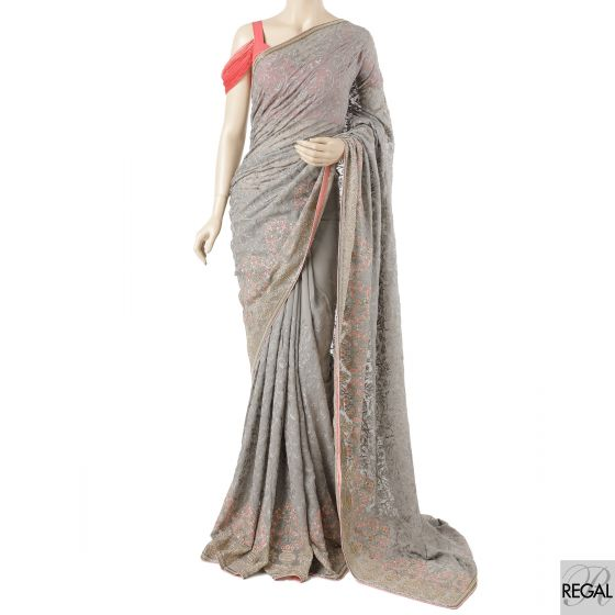 Smoke grey georgette saree with salmon peach, grey, beige, olive green, gold embroidery in fancy design having pearls, beads and stone work