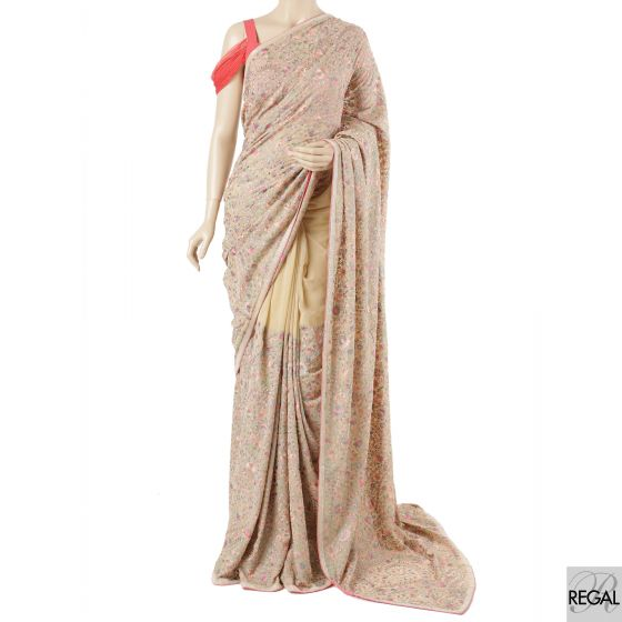 Beige georgette saree with flamingo pink, light turquoise green, grey, beige embroidery in floral design having beads and stone work