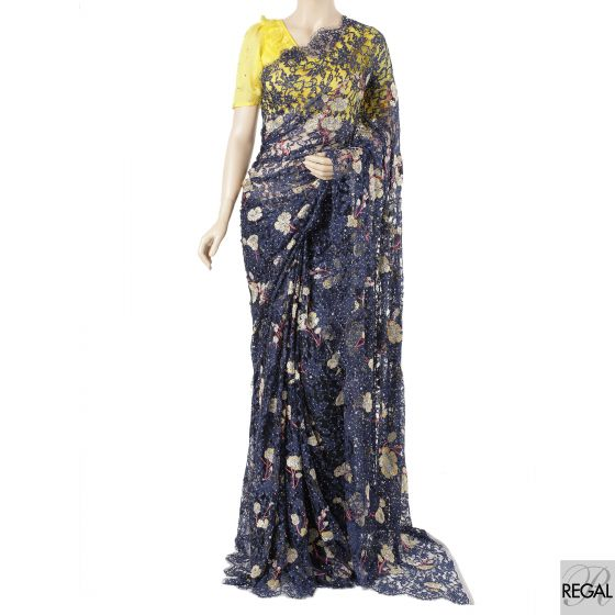 Black, navy blue two tone French saree lace with gold, cerise pink, silver embroidery in floral design having stone work