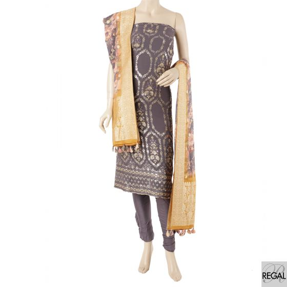 Light wine kameez with gold embroidery, light wine salwar with viscose printed dupatta