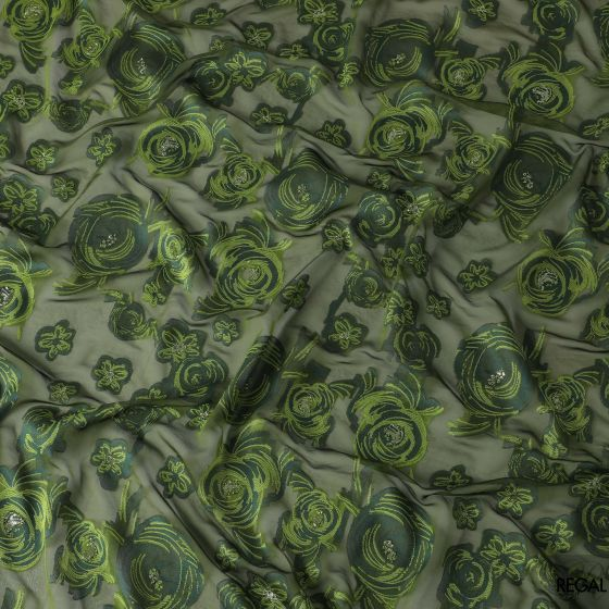Olive green French silk chiffon fabric with Kelly green, forest green viscose having mint green metallic lurex in floral design