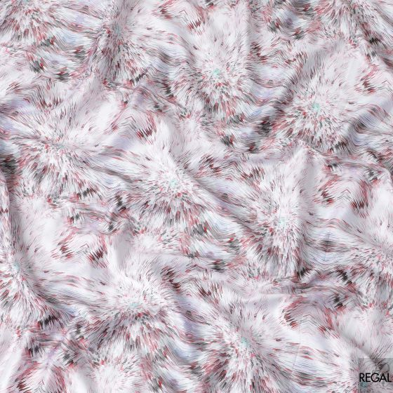 White cotton voile fabric with black, grey, light cerise pink and light turquoise green print in fancy design