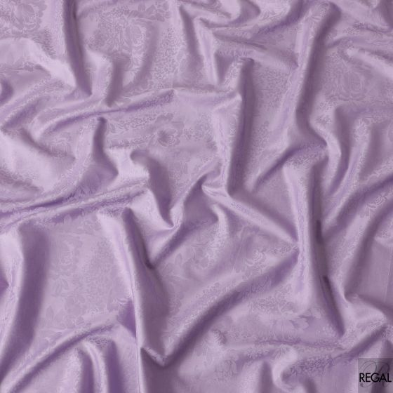 Lavender cotton satin fabric with same colour jacquard in floral design