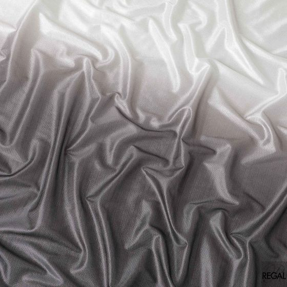 Silver to mocha brown synthetic polyester metallic fabric in ombre design