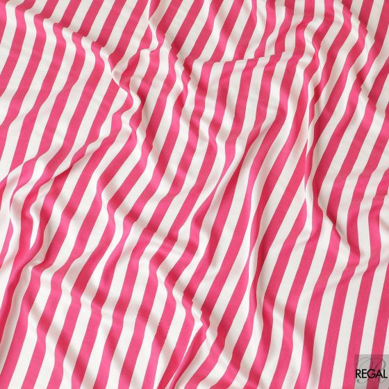 White viscose fabric with hot pink broad stripes
