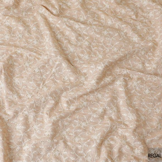 Latte beige linen fabric with cream embroidery in fancy design having gold sequins