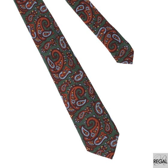 Forest green Italian wool printed tie with marron, dark orange, baby blue and yellow paisley design
