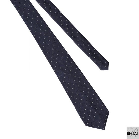 Men's 100% polyester Navy blue tie with white and black in abstract design